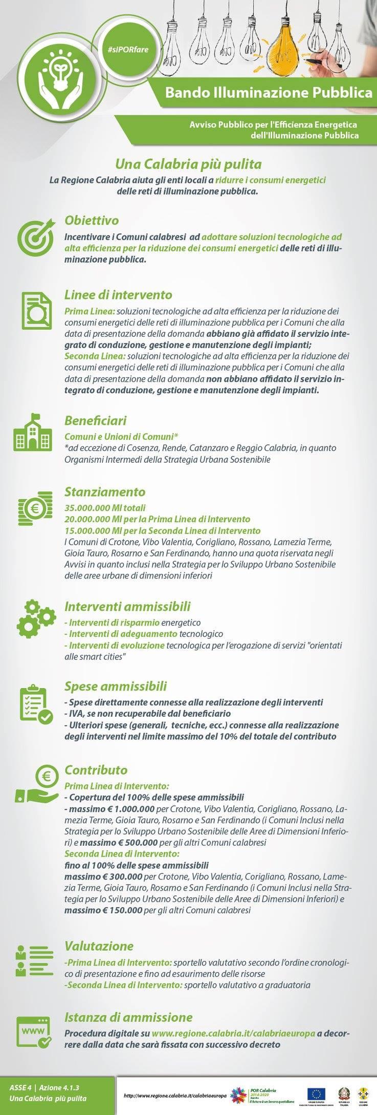 Bando Illuminazione Pubblica Regione Calabria